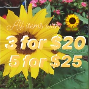 All items with 🌻 is 3 for $20 / 5 for $25